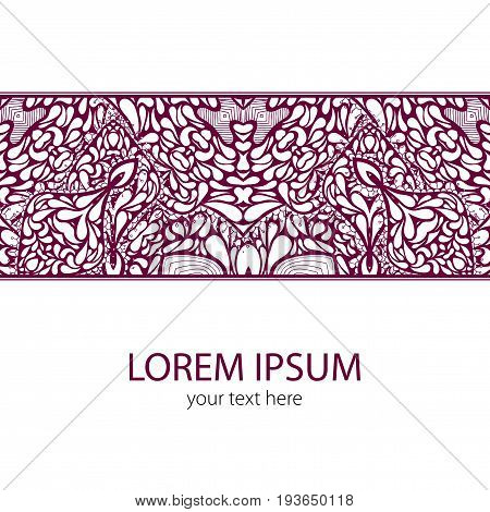 Vintage Lace Ornament Card with words lorem ipsum your text here vector illustration
