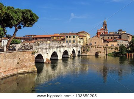 Rimini Italy - June 21 2017: Tiberius Bridge in Rimini one of the most solid architectural structures built by the Romans