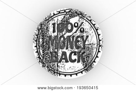 Stamp icon. Graphic design elements. 3D rendering. 100 percent money back text.