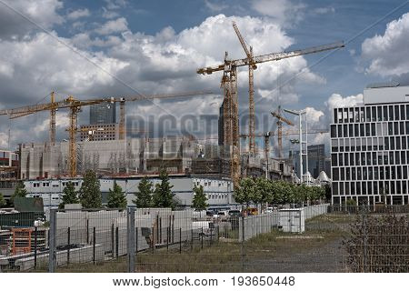 FRANKFURT, GERMANY-JULY 03, 2017: Construction site for a new exhibition hall