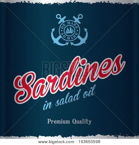 Stylish Sea Food Poster with words sardines in salad oil of premium quality vector illustration