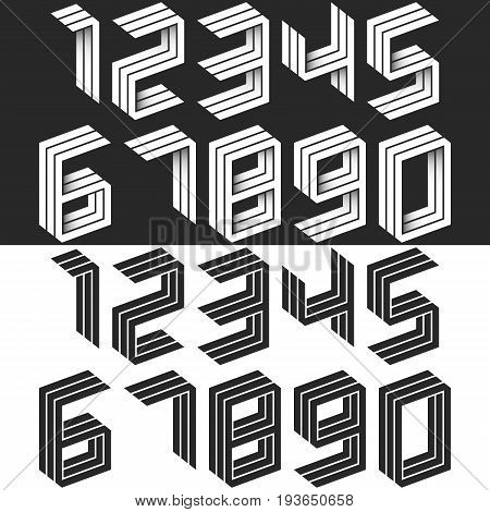 Numbers Set Isometric Geometric Shape, Black And White Creative Idea Hipster Monogram Digits Form In