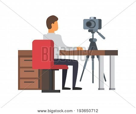 Video blogger making stream. Vlogger with camera at their workplace. Vlog vector illustration