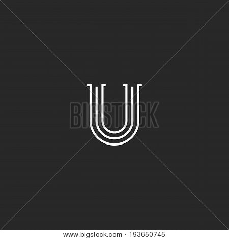 Retro Letter U Logo Monogram, Thin Parallel Lines Medieval Style Capital Initial Emblem. Old Style V
