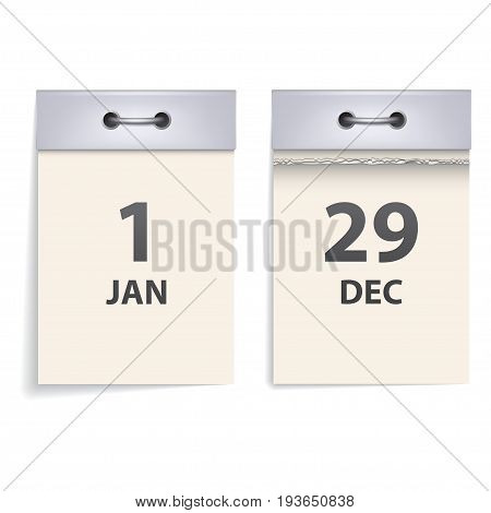 Realistic tear-off calendar. Front view. Whole and torn off sheet of paper. Isolated on white background. Element for your design.
