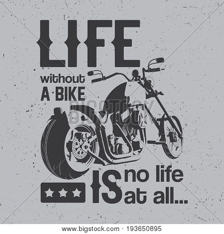 British Motorcycle Poster with bike and words life without bike is no life vector illustration