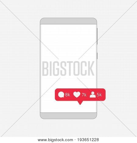 Message about new subscribers and comments. Depersonalized Frameless Smartphone outline. Pixel perfect. Grey gradients. Vector illustration. Eps10 Vector. White background.