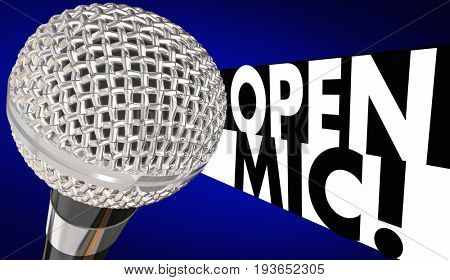 Open Mic Microphone Mike Night 3d Illustration