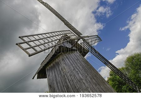 The reconstructed windmill in the village of Mikhaylovskoye (Pushkin's estate Russia).