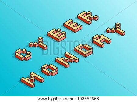Cyber Monday background. Digital promo text in style of old 8-bit video games. Sale, discounts, retailing theme. Vibrant 3D Pixel Letters. Vector illustration. Creative flyer, poster template.