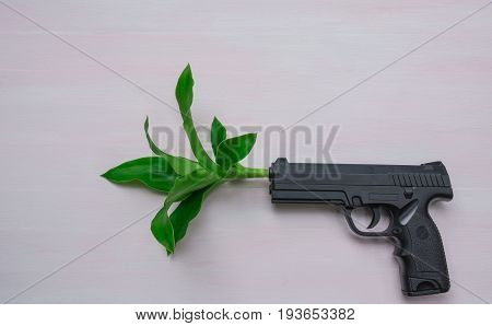 Handgun on wooden background with plant.War and peace full with hand gun.