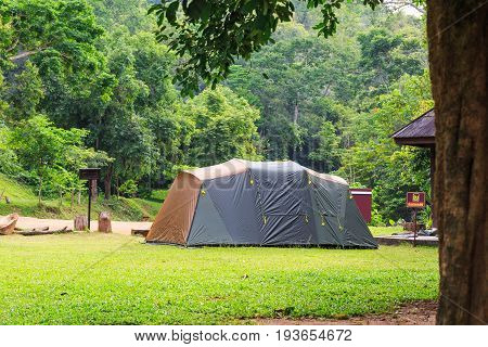 Family Tent At Campsite In Thailand