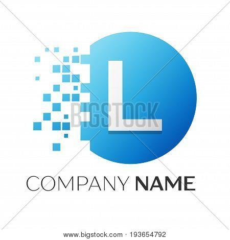 Realistic letter L vector logo symbol in the colorful circle with shattered blocks on white background. Vector template for your design