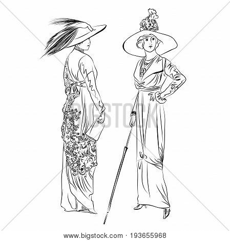 Vintage ladies in evening dresses and a hat