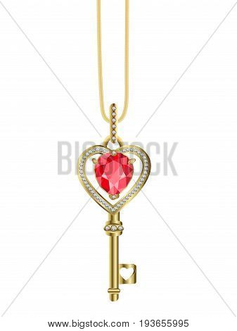 Necklace gold key picklock from heart with ruby ​​and diamonds on white background