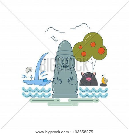 Line art styled vector illustration of a Jeju island symbols: stone Grandfather dol hareubang, jeju black pig, snail, persimmon tree and waterfall. Great as travel poster, flyer, banner template.