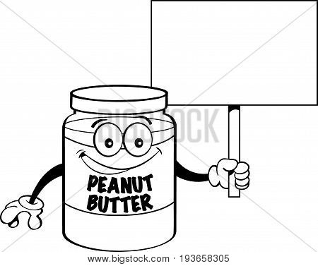 Black and Cartoon jar of peanut butter holding a sign.white illustration of a jar of peanut butter holding a sign.