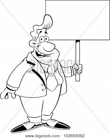 Black and white illustration of a man in a suit holding a sign.