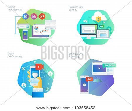 Material design icons set for project management, business data security, video conferencing, business live streaming. UI/UX kit for web design, applications, mobile interface, infographics and print design.
