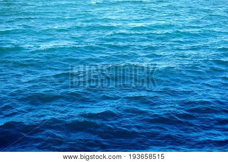 Beautiful texture of blue sea water photographed close-up