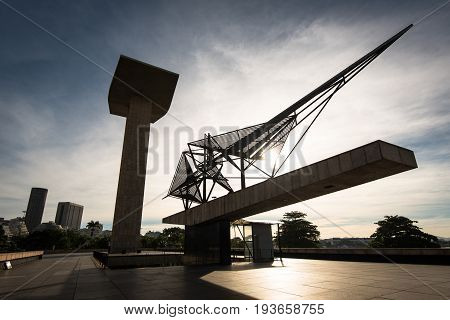 Rio de Janeiro, Brazil - June 27, 2017: Concrete portal sculpture and metal sculpture of the National Monument to the Dead of the Second World War.
