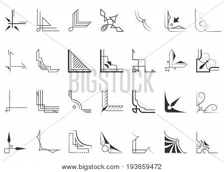 Set of 28 corners and design vector elements