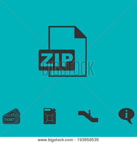 ZIP file icon flat. Simple vector symbol and bonus icon