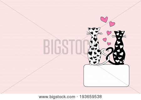 Hand drawn cover design with cartoon enamored cats for decorate book notebook sketchbook copybook case stationery. Cover A5 template with back. EPS 10.