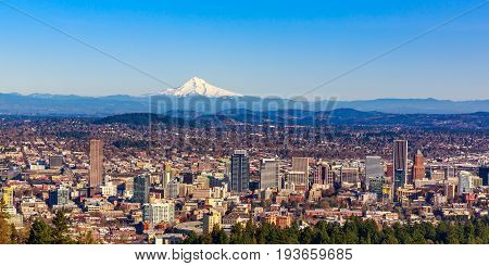 Portland Downtown Cityscape With Mt Hood