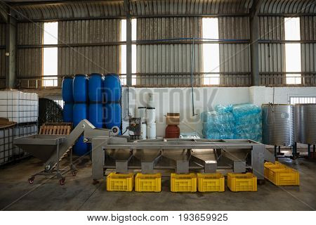 Yellow crate kept next to the conveyor belt in olive factory