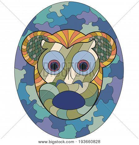 Mask of monkey fear in ethnic style