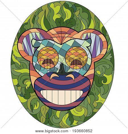Mask of monkey happiness and joy in ethnic style