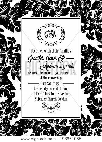 Damask Victorian Brocade Pattern Design For Wedding Invitation In Black And White. Floral Swirls Roy