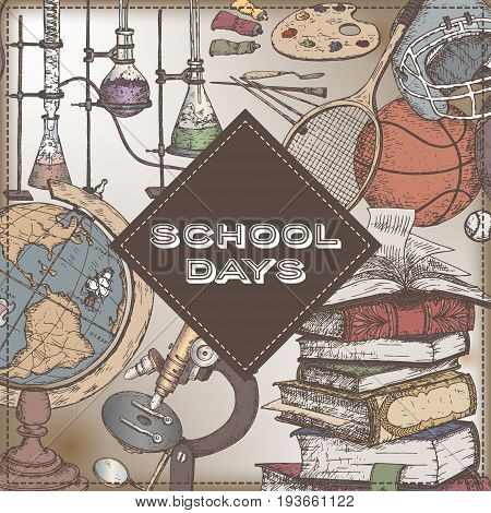 School days color template with art, sport, science, literature related objects. Back to school concept. Vector Illustration. Great for notebook, diary covers.