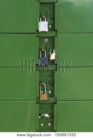 locker padlock green metal box secure inbox postage letterbox
