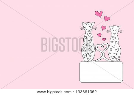 Hand drawn cover design with cartoon cats for decorate book notebook sketchbook copybook case stationery. Cover A5 template with back. EPS 10.
