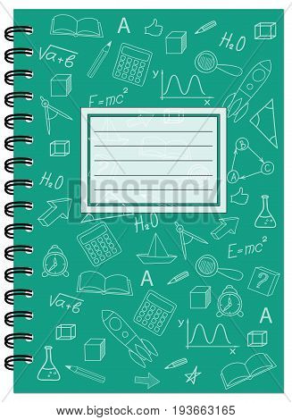 Cover design with hand drawn education icons and symbols for tutorial cover notebook sketchbook album copybook. Cover A5 notebook template with spiral and empty space. EPS 10.