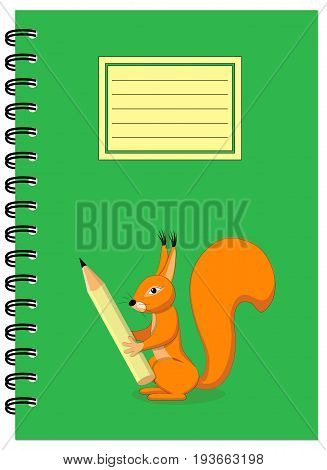 Cover design with squirrel holding pencil for tutorial cover notebook sketchbook album copybook. Cover A5 template and empty space. EPS 10.