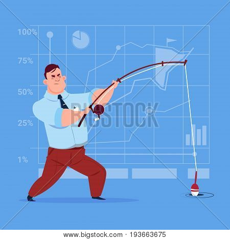 Business Man Holding Fishing Tackle Search Success Concept Flat Vector Illustration