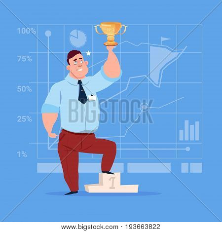 Business Man Hold Prize Winner Cup, Success Concept Flat Vector Illustration