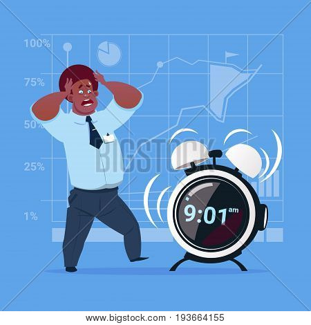Scared African American Business Man With Alarm Clock Deadline Time Management Concept Flat Vector Illustration