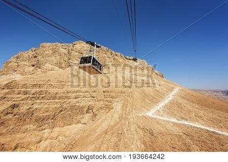Cable car heading to the top of Masada National Park