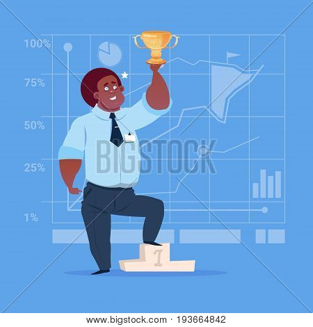 African American Business Man Hold Prize Winner Cup, Success Concept Flat Vector Illustration