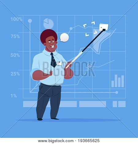 African American Business Man Taking Selfie Photo With Stick On Cell Smart Phone Flat Design Vector Illustration