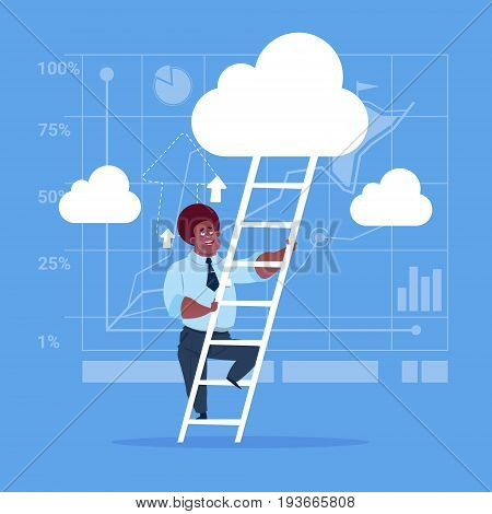 African American Businessman Climb Up Ladder Stairs, Concept Business Man Sky Clouds Flat Vector Illustration