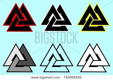 Valknut symbol , Triangle logo , Viking Age symbol , Color set