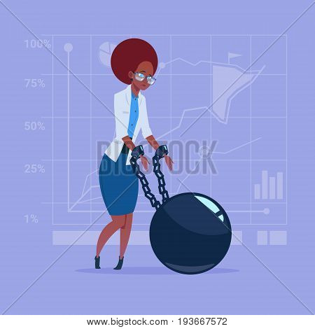 African American Business Woman Chain Bound Hands Credit Debt Finance Crisis Concept Flat Vector Illustration
