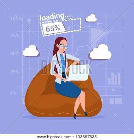 Business Woman Use Laptop Computer Loading Software Applications Media Social Network Communication Businessman Flat Design Vector Illustration