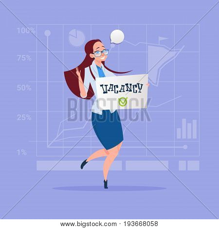 Business Woman Hired On Vacancy Recruitment New Job Position Concept Flat Vector Illustration