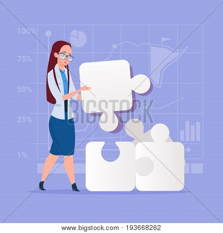 Business Woman Solve Puzzle Solution Concept Flat Vector Illustration